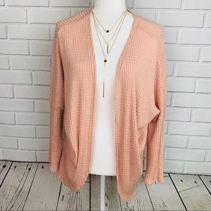 DAINTY HOOLIGAN Open Front Knit Cardigan Blush Med